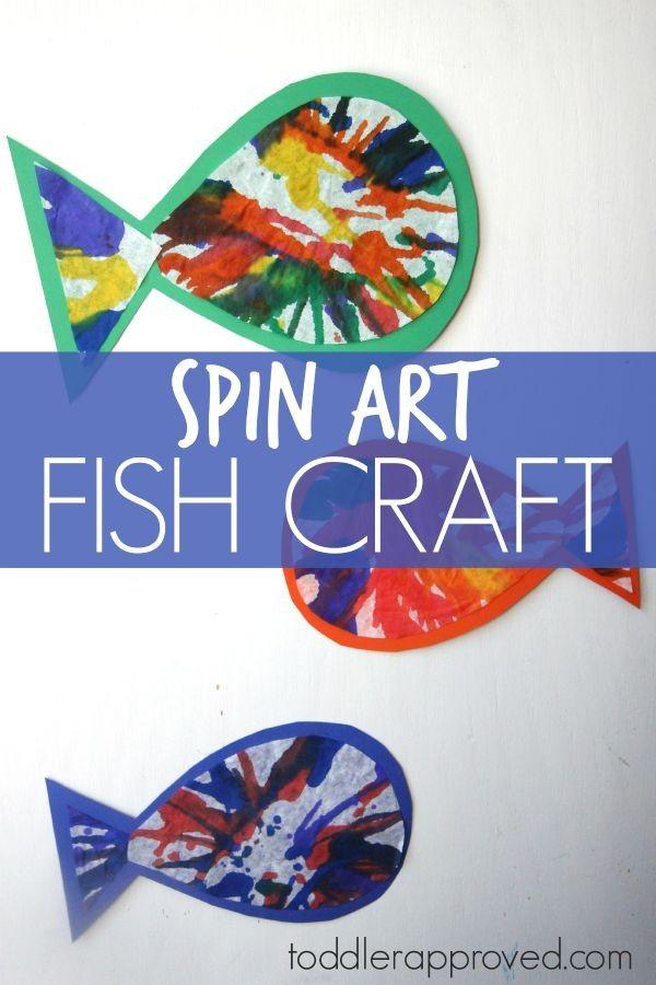 Spin art rainbow fish craft rainbow fish craft for Children s fish book