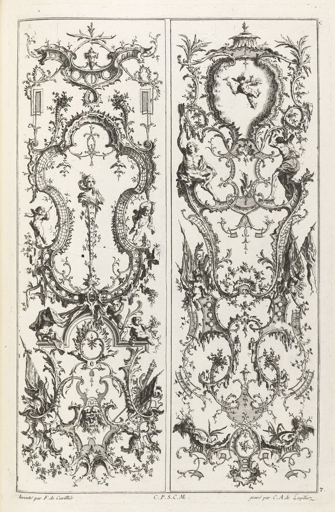 "Print, ""Designs for Two Gueridons and a Wall Bracket with a Vase"", 1745, etching and engraving on off-white laid paper, by Jean-François Cuvilliés."