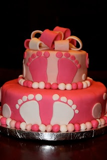 CAKES BY CARRI: Baby Feet Baby Shower Cake...this time it's for a sweet baby girl!: