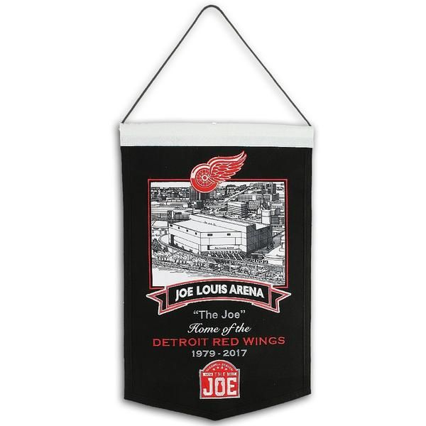 Joe Louis Arena Wool Banner. This banner features a combination of applique and embroidery. A black and white photo of the great Joe Louis Arena, the Final Season Farewell patch and winged wheel logo are all sewn on appliques.