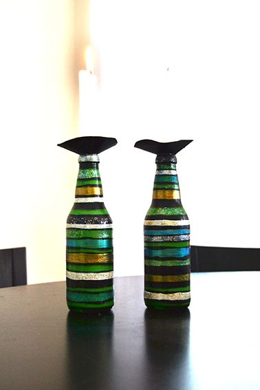 Painted bottles with nail polish.