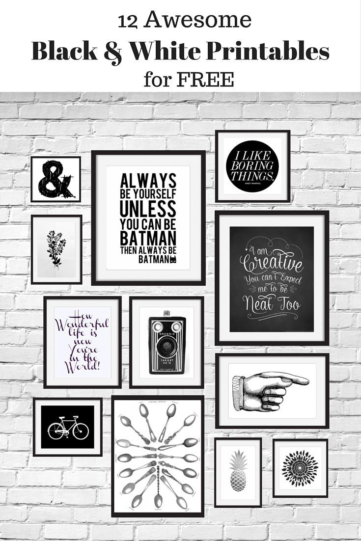 12 Free Black and White Printables great for using in your gallery wall. Curated by Calm Collected.