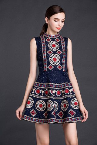 Navy Blue Embroidered Dress