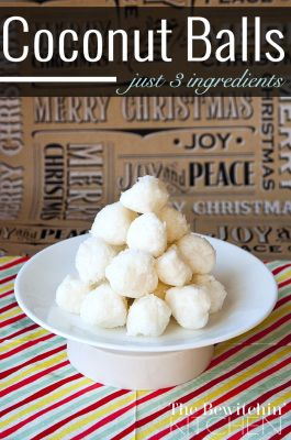 3 ingredient coconut balls. This easy recipe is gluten free, no bake, vegan and is a great alternative to cookies. They're good year round from Christmas baking to bridal shower favors (plus the coconut oil has health benefits). Check this recipe out on The Bewitchin' Kitchen.