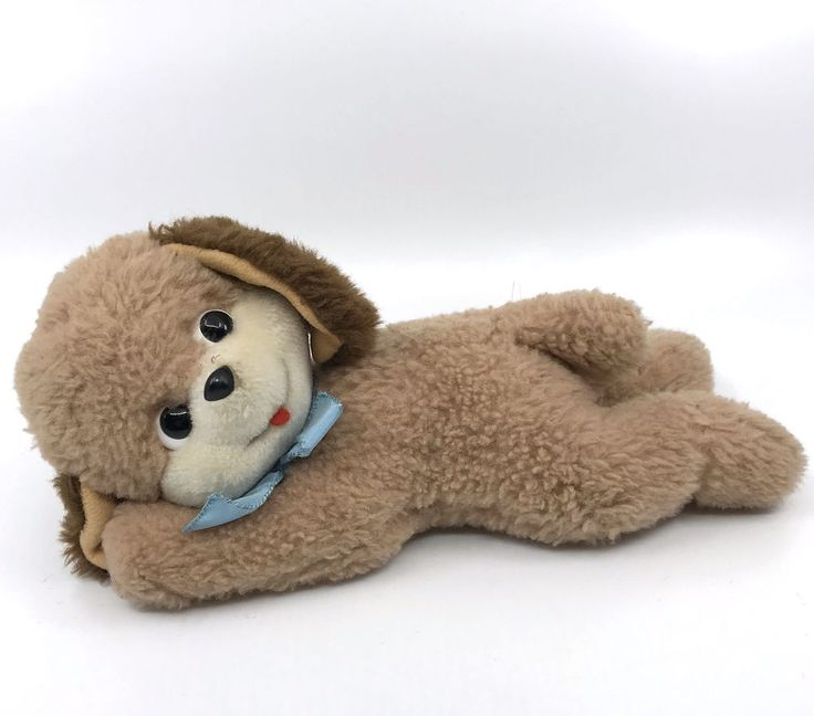 Schuco Floppy Puppy #Dog Lying Dralon Plush 18cm 7in Vintage Germany no ID #Schuco AllOccasion