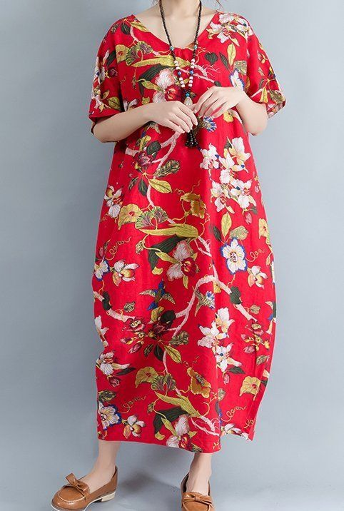 New women loose fit plus over size retro flower dress maxi tunic robe pregnant #unbranded #Maxi #Casual
