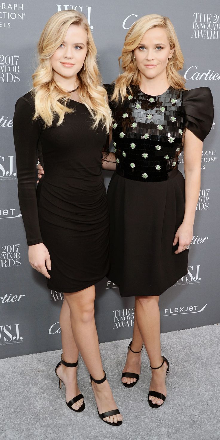 Reese Witherspoon in Giorgio Armani and Ava Phillippe in Balmain