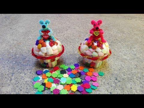 YouTube Regalo cupcakes con bombon y osito con limpiapipas