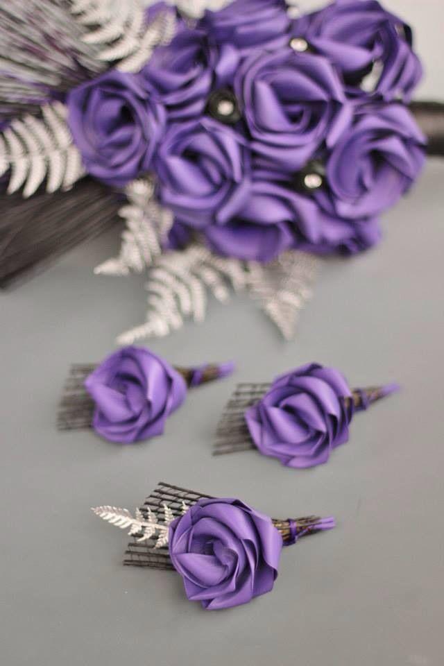 Purple, black & silver fern buttonholes. www.flaxation.co.nz