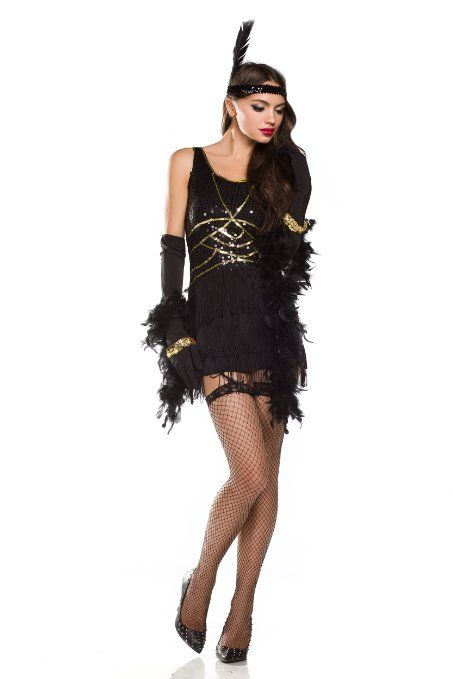 Amour- Sexy Old Fashioned Roaring 20s Honey Flapper Girl Costume Halloween (ZY515