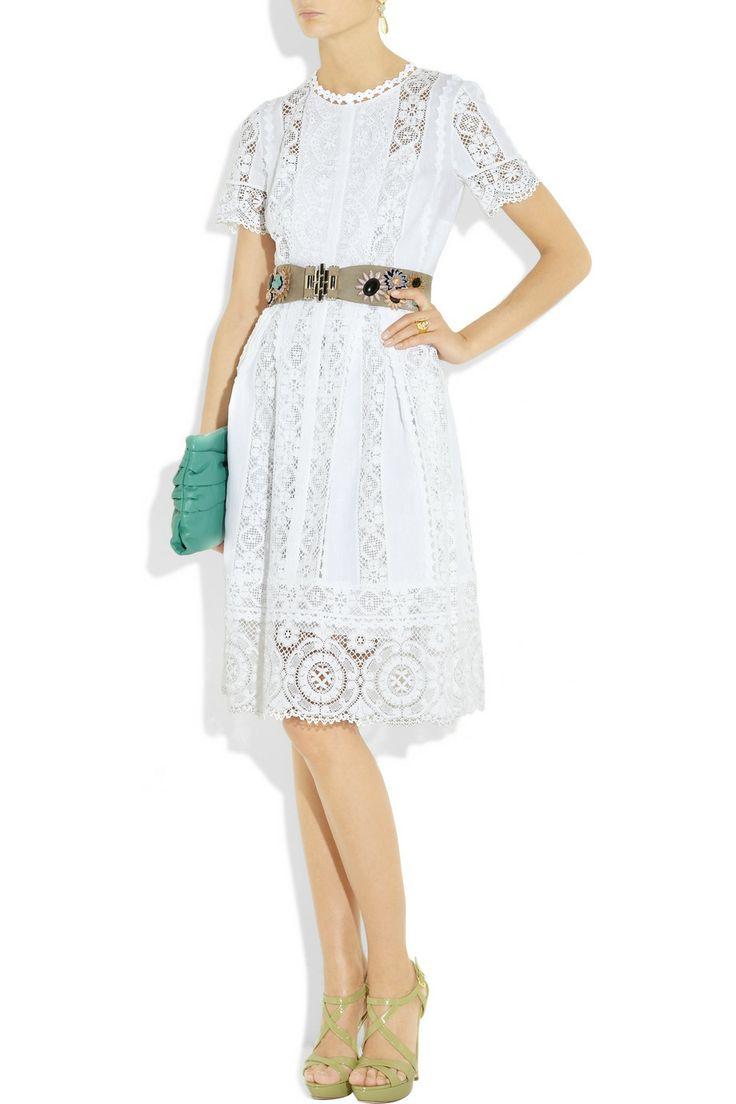Oscar De La Renta Lace and Linen Dress in White   Lyst