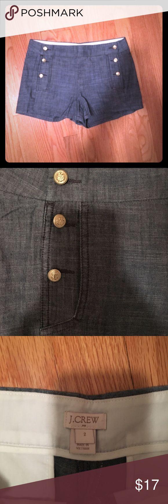 J Crew button front sailor shorts J Crew button front sailor shorts. Soft denim/chambray material. NWOT!! J. Crew Shorts