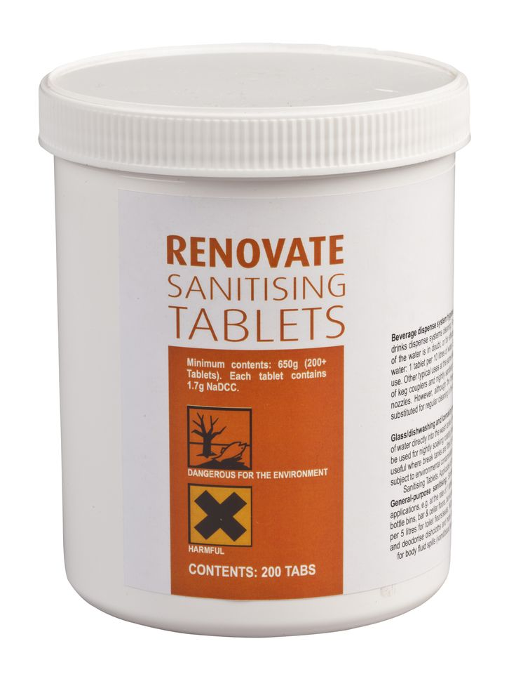 Renovate Sanitising Tablets are safe and versatile sterilising tablets for beverage dispense system rinse water, glasswashing, dishwashing and ice making equipment, bottle bins, floors, bar surfaces, table tops, toilets and drains.