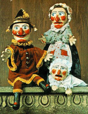 brighton. Punch and Judy came from La Commedia in Italy. Puncinella was the original character in the 1600's