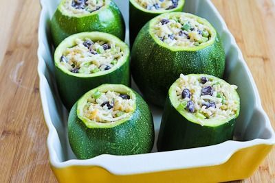 for Vegetarian Stuffed Zucchini with Brown Rice, Black Beans, Chiles ...