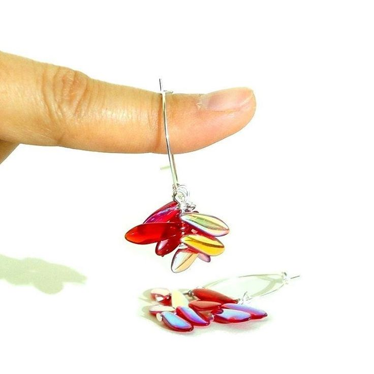 A pair of dangling reds that reminds you of someone who was given - Support The National Autistic Society, Red Beads Hoop Earrings; Support The National Autistic Society, Charity Earrings, Red Beads Earrings, Hoop Earrings, Teardrop Beads, Two Tones Beads, Red Earrings.
