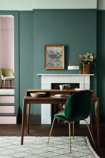 Peinture Pleat, Aquamarine et Dorchester de Little Greene