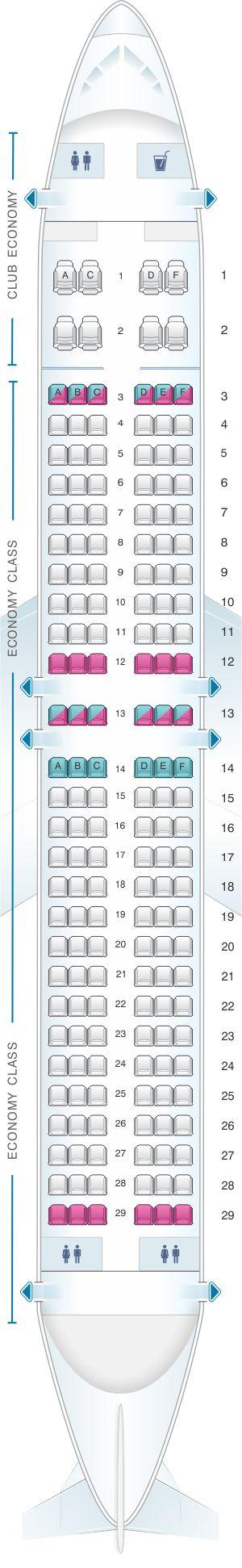 Seat Map Aerolineas Argentinas Boeing B737 800