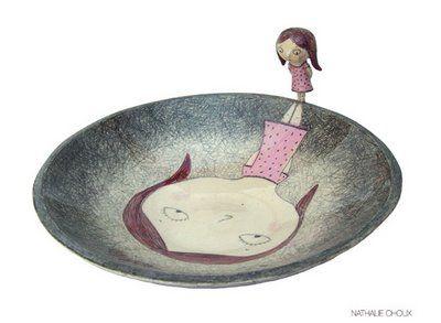 Nathalie Choux...clever whimsical ceramic artist...like the tim burton animator of ceramics