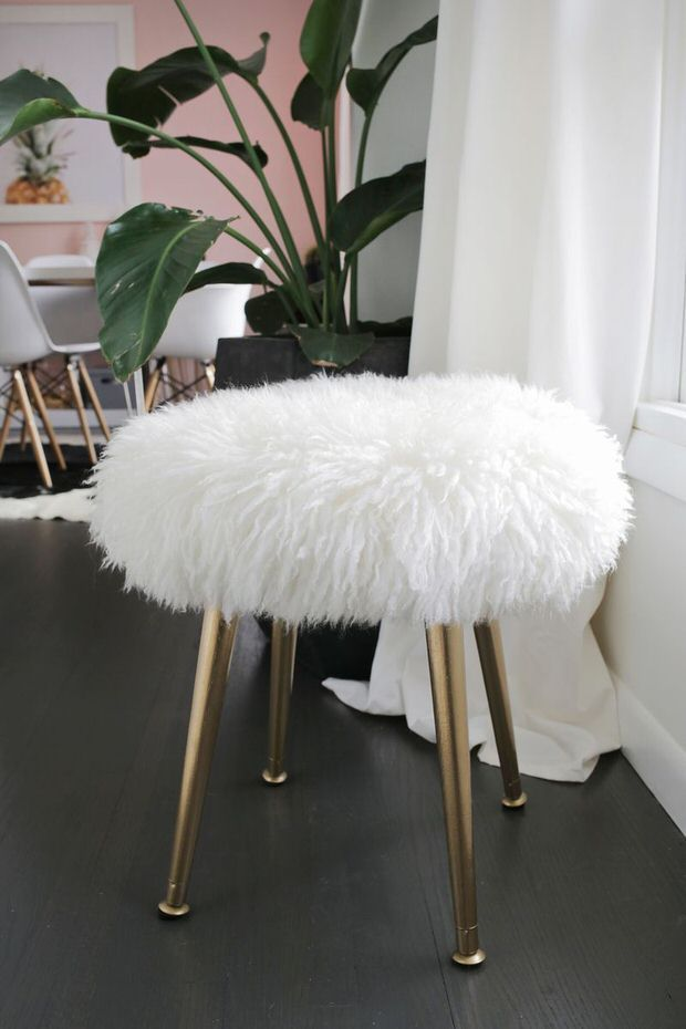 DIY furry wood stool with gold legs