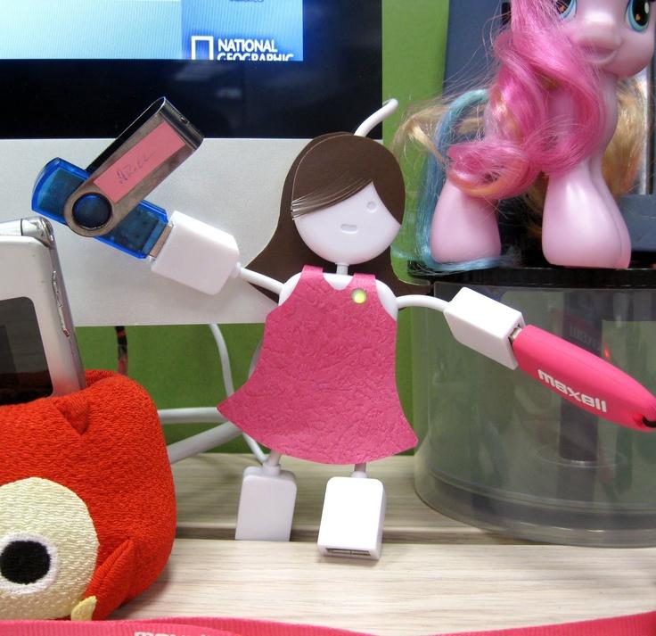"""HuBertha"" my USB Hub at work. Lovely custom-made paper dress and hair."