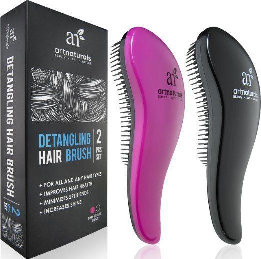 Art Naturals Detangling Hair Brush Set (Pink & Black) - glide the Detangler through Tangled hair Best Brush Comb for Women