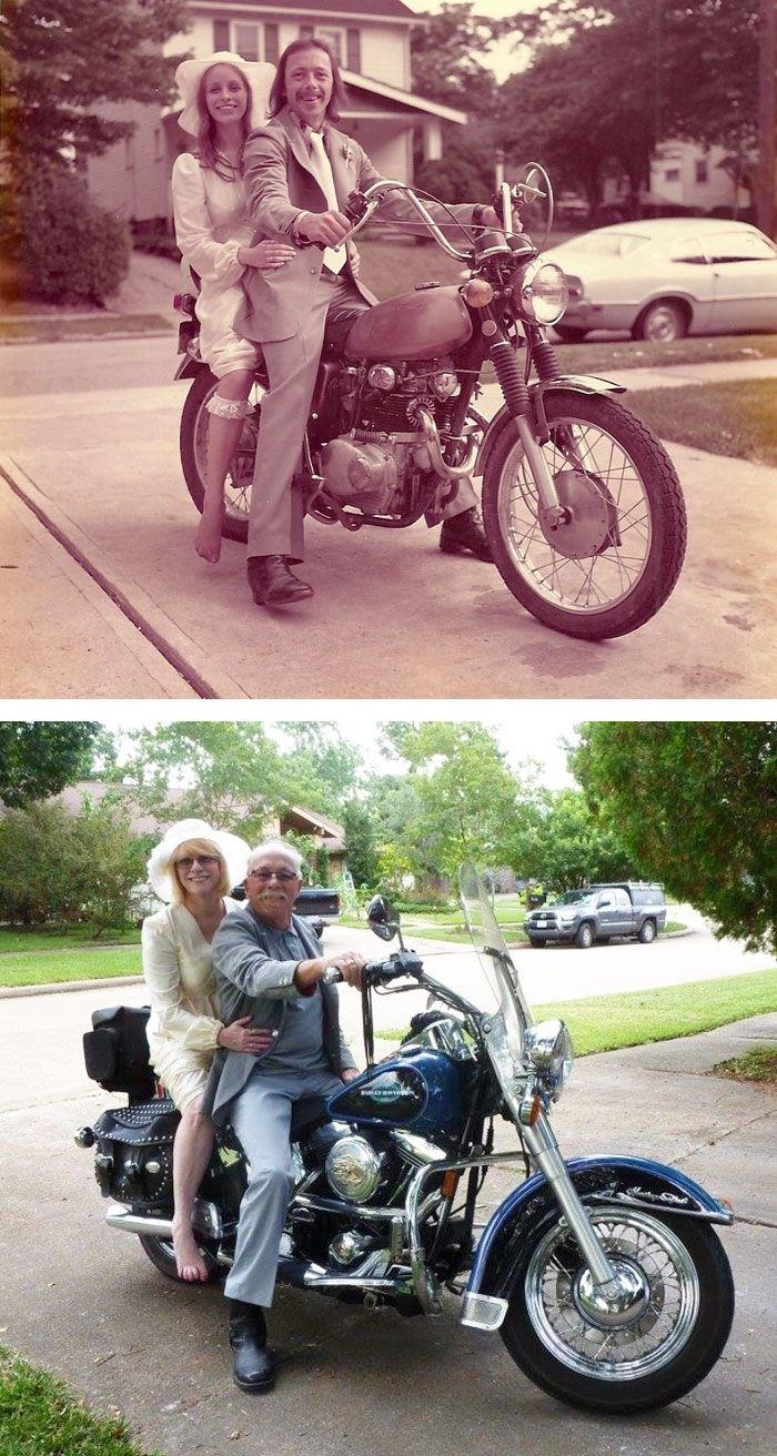 Пары воссоздают свои старые фотографии, доказывая, что любовь вечна