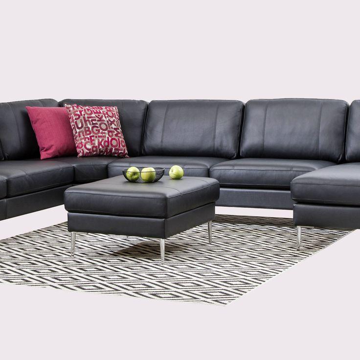 Musta nahkasohva on aina nappivalinta!  Malli: Capri  Vaihtoehdot: 2-istuttava ja 3-istuttava sohva, modulisohva Jälleenmyyjä: Masku-myymälät  #pohjanmaan #pohjanmaankaluste #käsintehty
