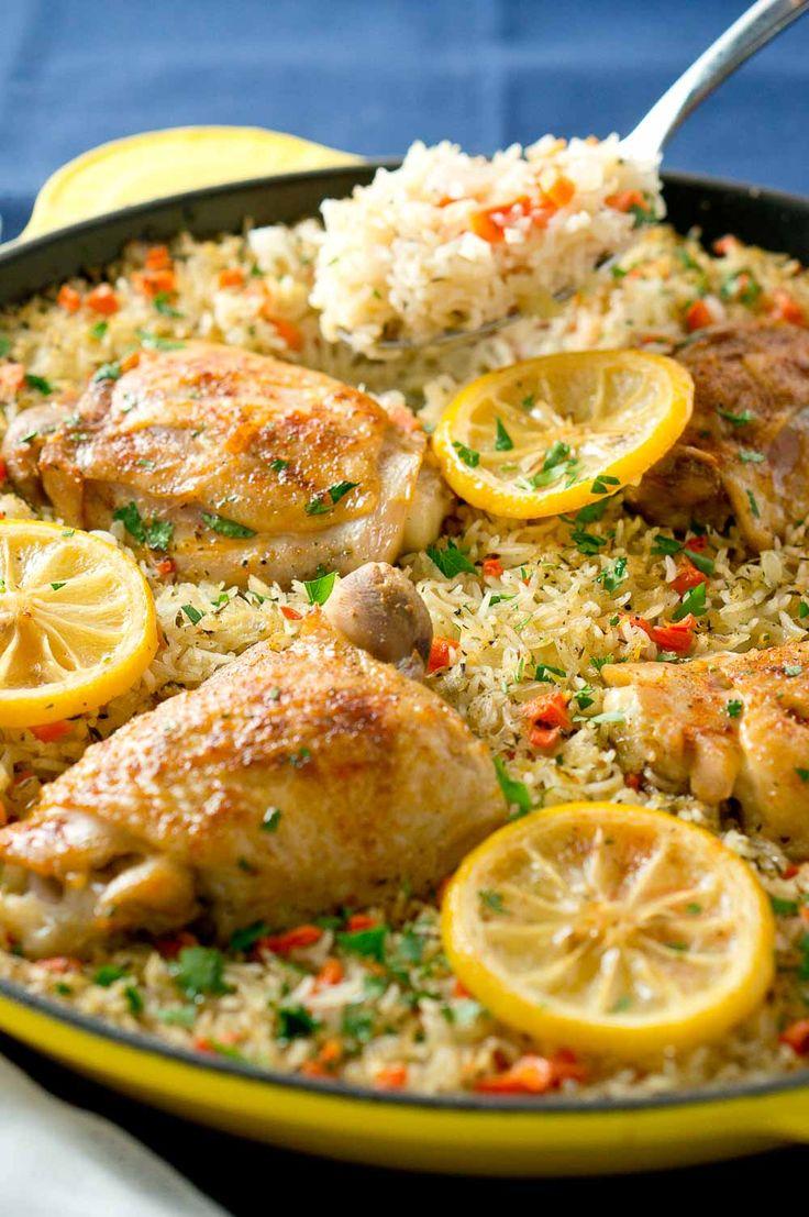 One Skillet Mediterranean Chicken and Rice