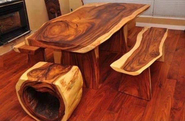 Real wood furniture natural wood seating and dining table