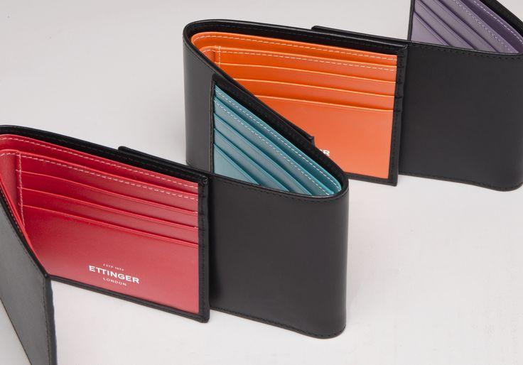 Ettinger London – Luxury Leather Goods – Sterling Collection - Inspired by the colours of the British banknotes, the Sterling Collection has a softer, more contemporary feel with its crisp black calf on the outside opening up to reveal a vibrant burst of colour inside, giving it plenty of character