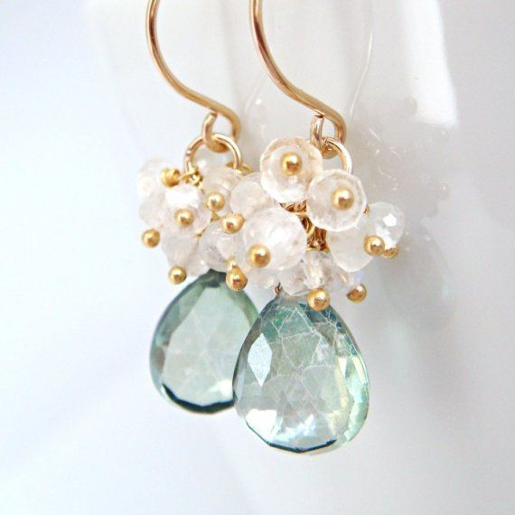 Teal Green Quartz Moonstone Earrings in 14k Gold Fill, Handmade Gemstone Cluster Earrings