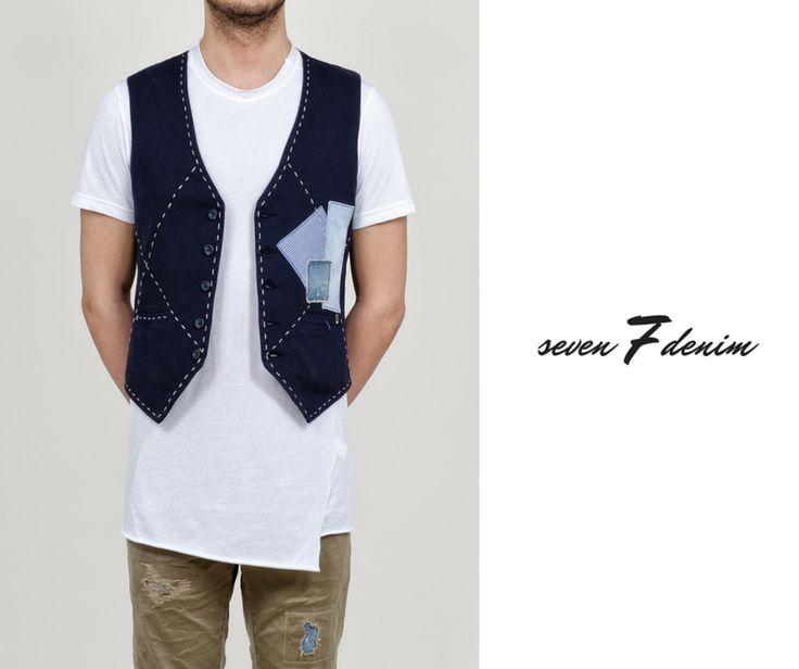 SEVEN 7 Denim - Ανδρικό γιλέκο με εξωτερικές ραφές και patches.  #Hip #Hipyourtshirts #Hipyourstyle #Style #New #Womens #Mens #Fashion #7Denim #SevenDenim #Denim #Jeans #AW15 #Collection #Exclusive #Rhodes #Greece