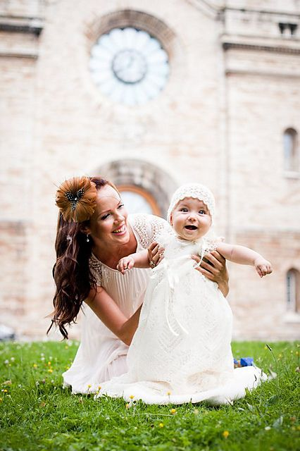 Love this idea for pics outside the church after christening!