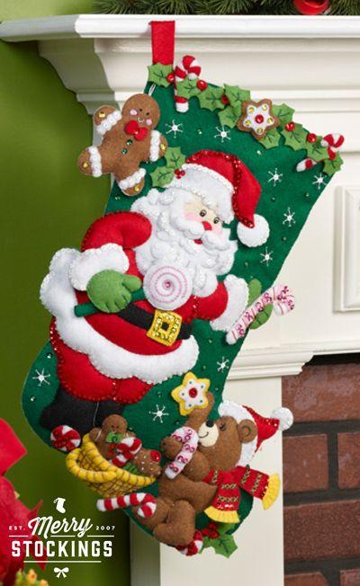 New release Bucilla Christmas stocking kit (available mid-November). Kit entitled Santa and Teddy Bear. MerryStockings will have plenty ready to ship!