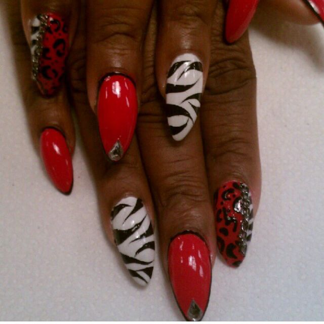 Black, white and red...zebra and leopard print.