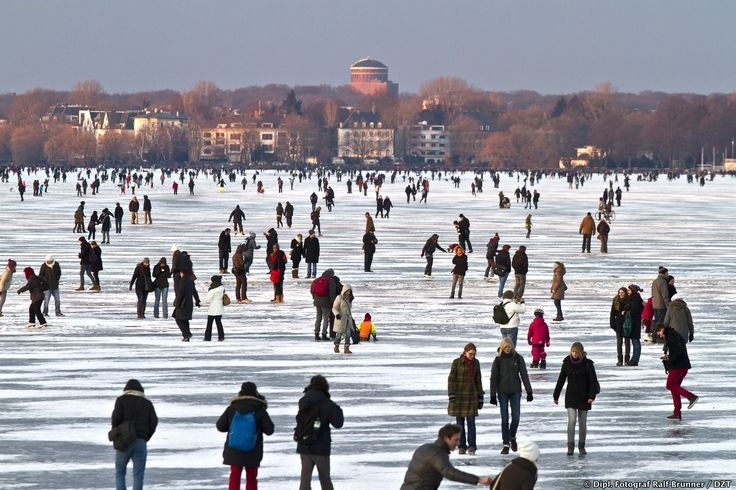 Get your skates on: And try iceskating on the frozen river Außenalster in hamburg