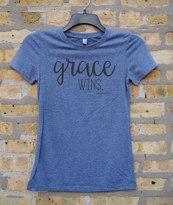 GRACE WINS Ephesians 2:8-9 Womens T-shirt, Gray with black ink, Christian T-shirt,