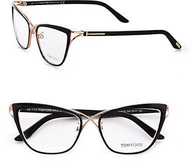 Tom Ford Cat's-Eye Eyeglasses/Black by Binda Fashion