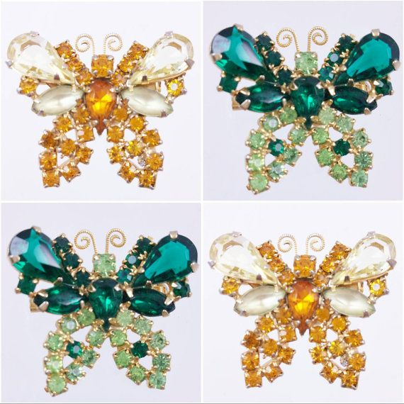 Vintage Rhinestone Butterfly Pins Lot of 2 by LadyandLibrarian