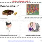 2 Spanish Donde Esta School Places Booklets - Each contains 8 pages; one with text and images, the other with text only so students can illustrate their own booklets.