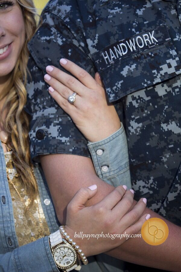 Engagement, military, couple, cute