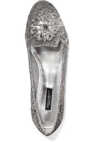Dolce & Gabbana - Embellished Lace-covered Mesh Ballet Flats - Silver - IT38.5