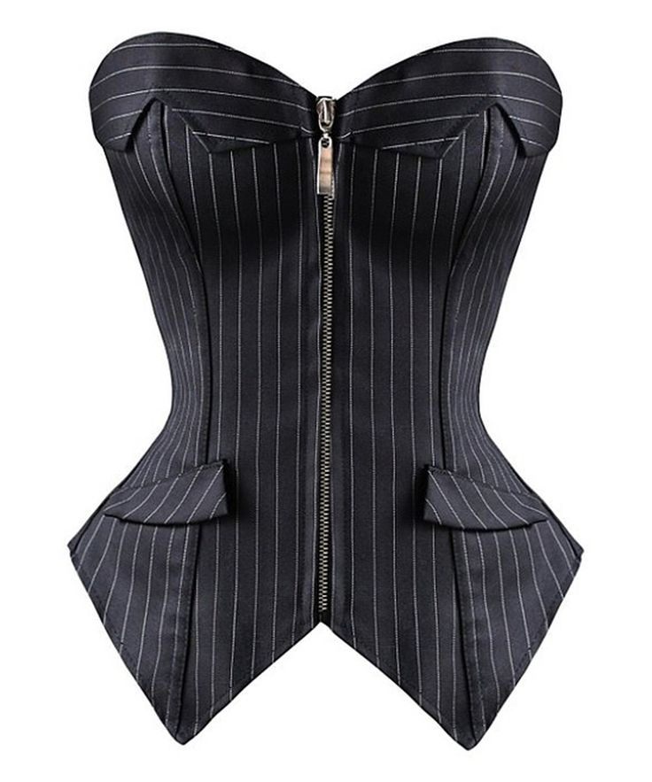 Look at this Black Pinstripe Strapless Corset - Plus Too on #zulily today!