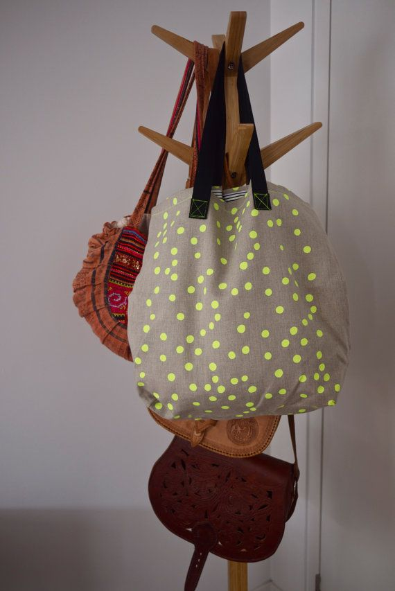 Neon Yellow Spot Linen Tote Bag by SeptemberDesign on Etsy, $59.00
