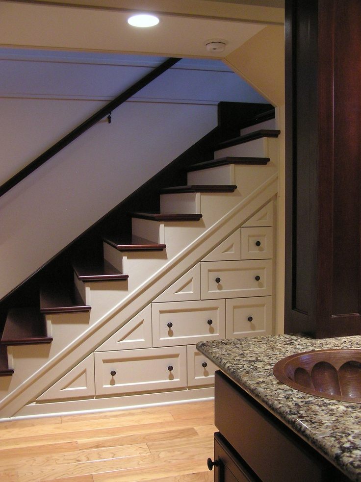 Custom Cabinets Maximize Unused Space Under The Stair Well