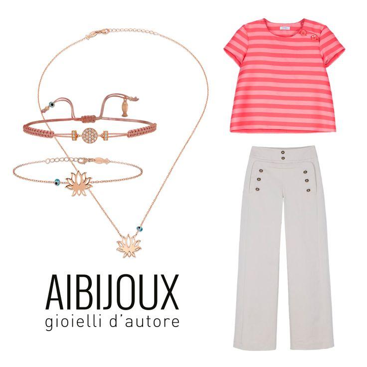 Collana e bracciali Kurshuni, Pantaloni e t-shirt Max&co. #AIBIJOUX #Kurshuni #outfits #fashionjewelry #ilnostrooutfit