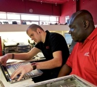 Two of our engineers busy fixing customers' computers #computerrepair #laptoprepair #computerengineer #greenwich #independentretail