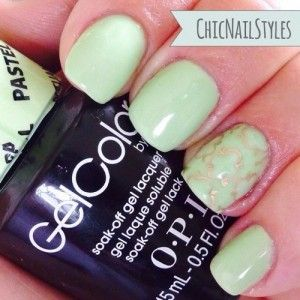 OPI GelColor Pastels–Gargantuan Green Grape--the perfect mint gel polish! I love the gold baroque pattern on the ring finger too--it was sooo simple if you watch Christabell Nails tutorial I included in the post.
