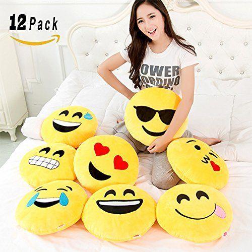 [VALUE BUNDLE] Set of 12 Large Emoji Plush Pillows, 13 Inches / 32CM Jumbo Yellow Round Stuffed Cushion Pillows Set #PillowSet